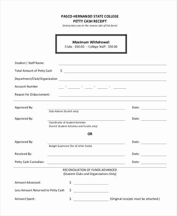 Petty Cash Receipt Template Luxury Sample Petty Cash Receipt form 8 Free Documents In Word