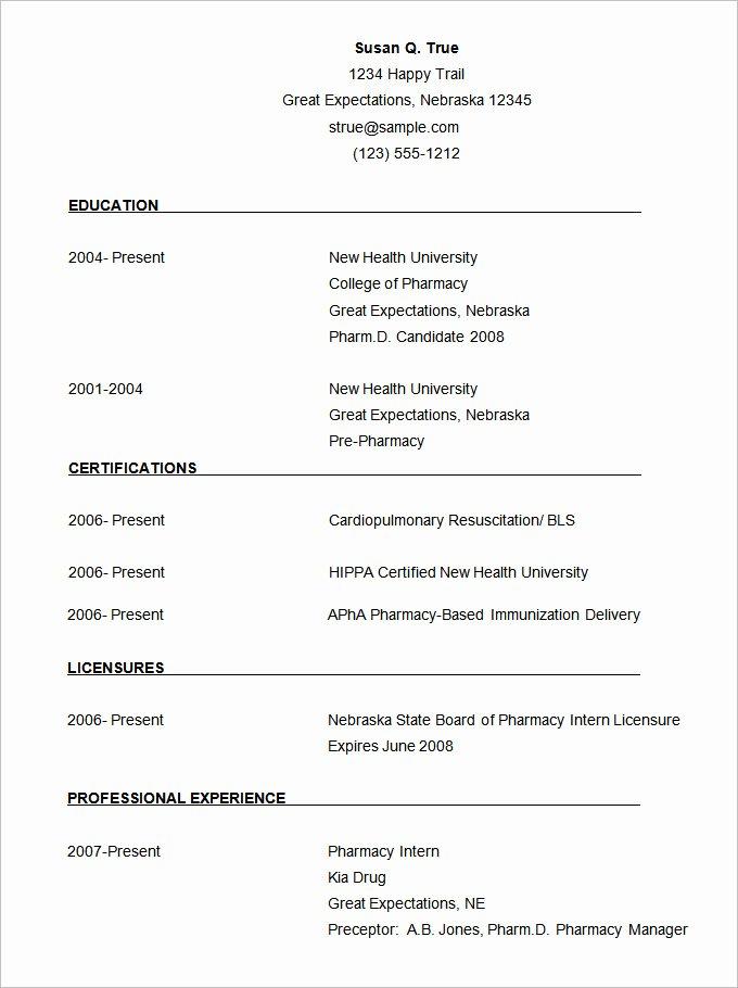 Pharmacist Curriculum Vitae Template Best Of 68 Cv Templates Pdf Doc Psd Ai
