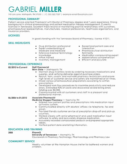 Pharmacist Curriculum Vitae Template Elegant Pharmacist Resume Examples