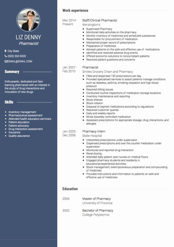 Pharmacist Curriculum Vitae Template Luxury Pharmacist Cv Examples & Templates