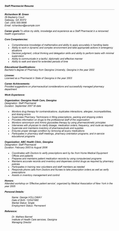 Pharmacist Curriculum Vitae Template New Pharmacist Resume format India 13 Resume