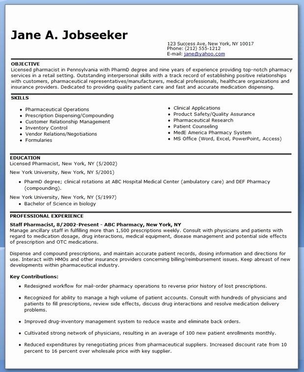 Pharmacist Curriculum Vitae Template New Pharmacist Resume Sample