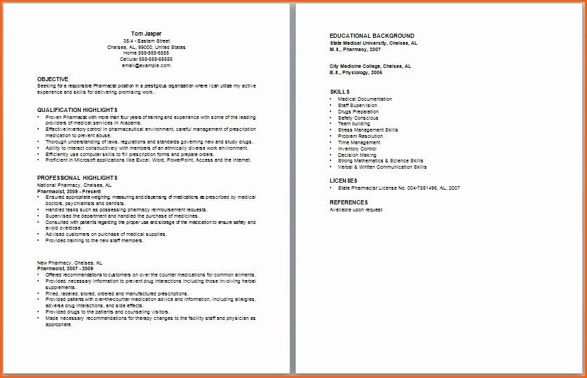 Pharmacist Curriculum Vitae Template New Pharmacy School Resume Best Resume Collection