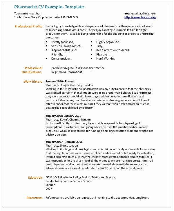 Pharmacy Curriculum Vitae Template Best Of 9 Pharmacist Curriculum Vitae Templates Pdf Doc