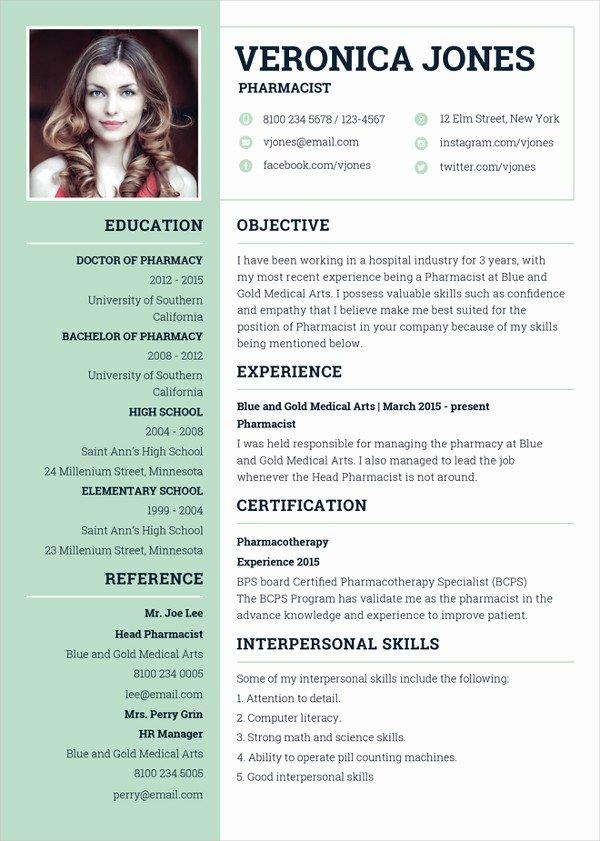 Pharmacy Curriculum Vitae Template Elegant 19 Resume Examples Pdf Doc