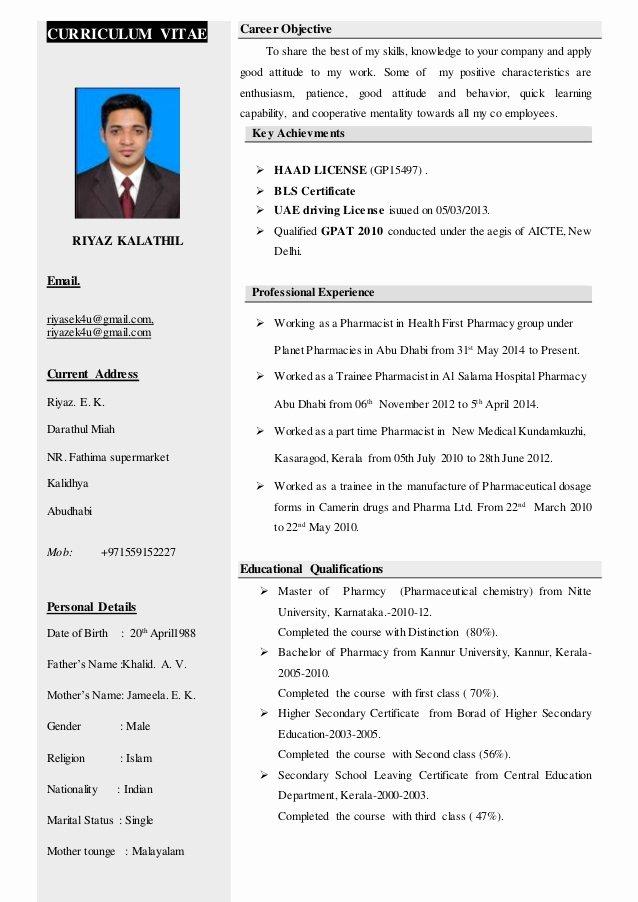 Pharmacy Curriculum Vitae Template Elegant Riyaz Kalathil Haad Pharmacist Cv