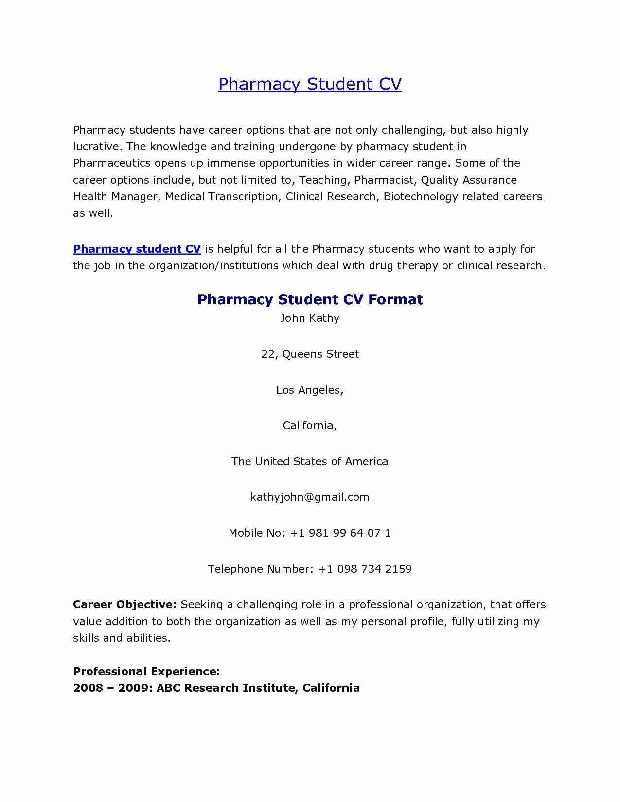 resume format for pharmacy graduates