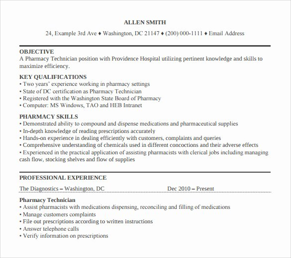 Pharmacy Technician Resume Template Best Of 14 Pharmacy Technician Letters – Samples Examples