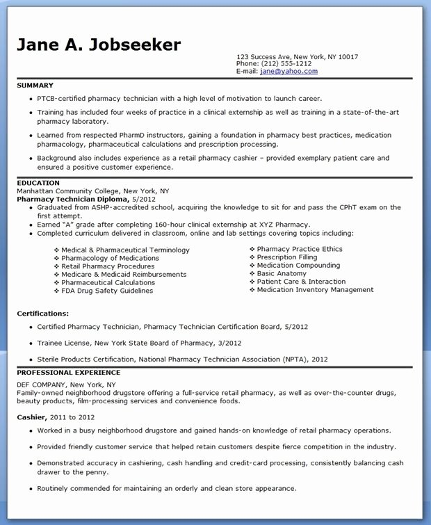 Pharmacy Technician Resume Template Best Of Pharmacy Technician Resume Sample No Experience