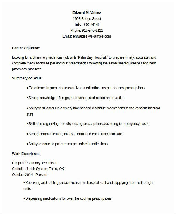 Pharmacy Technician Resume Template Elegant 10 Pharmacy Technician Resume Templates Pdf Doc