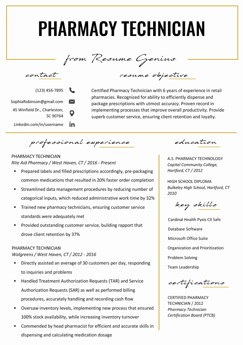 Pharmacy Technician Resume Template New Pharmacy Technician Resume Example & Writing Tips