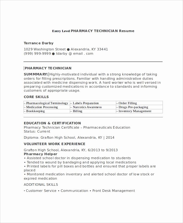 Pharmacy Technician Resume Template Unique 7 Sample Pharmacy Technician Resumes