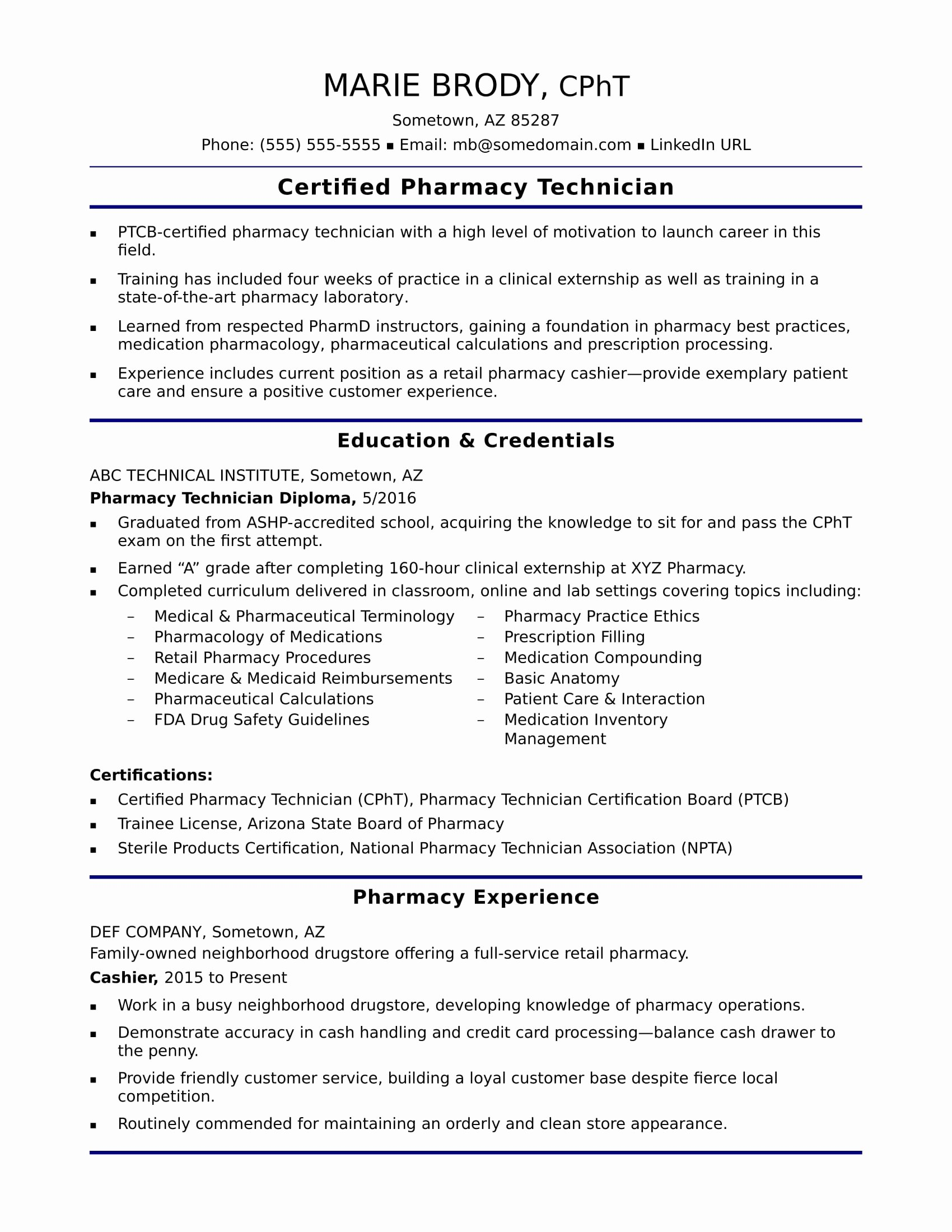 Pharmacy Technician Resume Template Unique Entry Level Pharmacy Technician Resume Sample