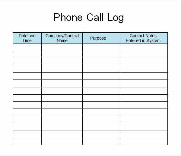 Phone Call Log Template Awesome 13 Sample Call Log Templates – Pdf Word Excel Pages