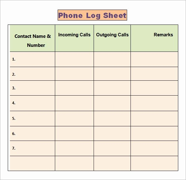 Phone Call Log Template Awesome Phone Log Template 8 Free Word Pdf Documents Download