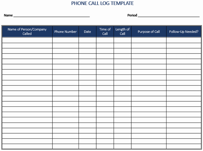 Phone Call Log Template Best Of 5 Call Log Templates to Keep Track Your Calls