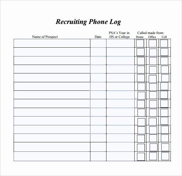 Phone Call Log Template Elegant Phone Log Template 8 Free Word Pdf Documents Download