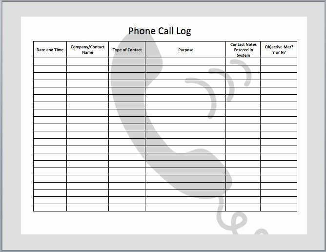 Phone Call Log Template Unique 11 Best Call Log Ideas Images On Pinterest
