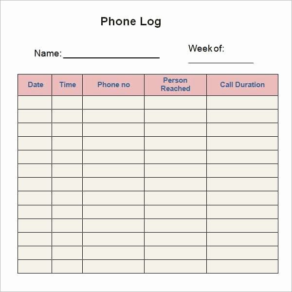 Phone Message Log Template Best Of 10 Phone Log Templates Word Excel Pdf formats