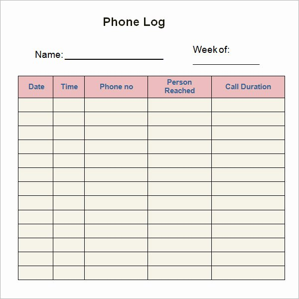 Phone Message Log Template Elegant 8 Sample Printable Phone Log Templates