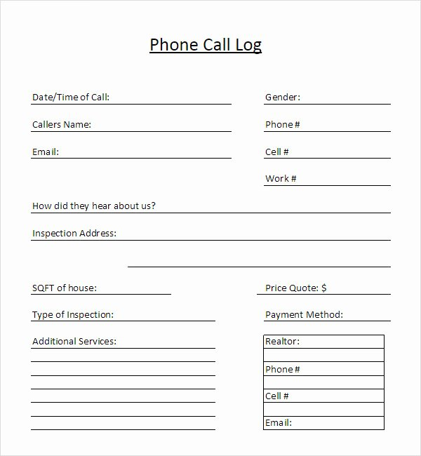 Phone Message Log Template Elegant Missed Call Log Template Bing Images