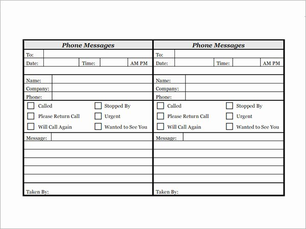 Phone Message Log Template Fresh 10 Sample Phone Message Templates – Pdf Word Excel