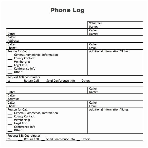 Phone Message Log Template Luxury 10 Phone Log Templates Word Excel Pdf formats