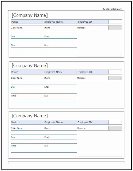 Phone Message Log Template Luxury Phone Message Slip Templates for Ms Excel