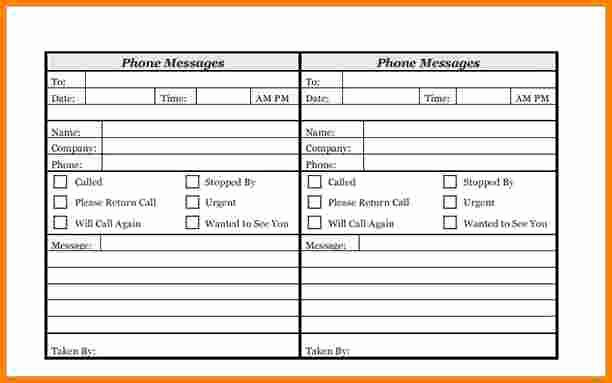 Phone Message Log Template Unique Phone Message Template