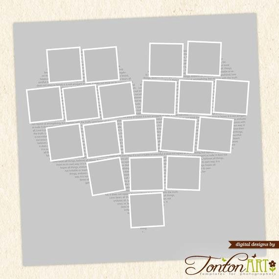 heart shape photo collage template 24x24