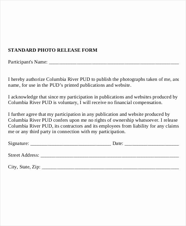 Photo Consent form Template Beautiful Release form Template 9 Free Pdf Documents