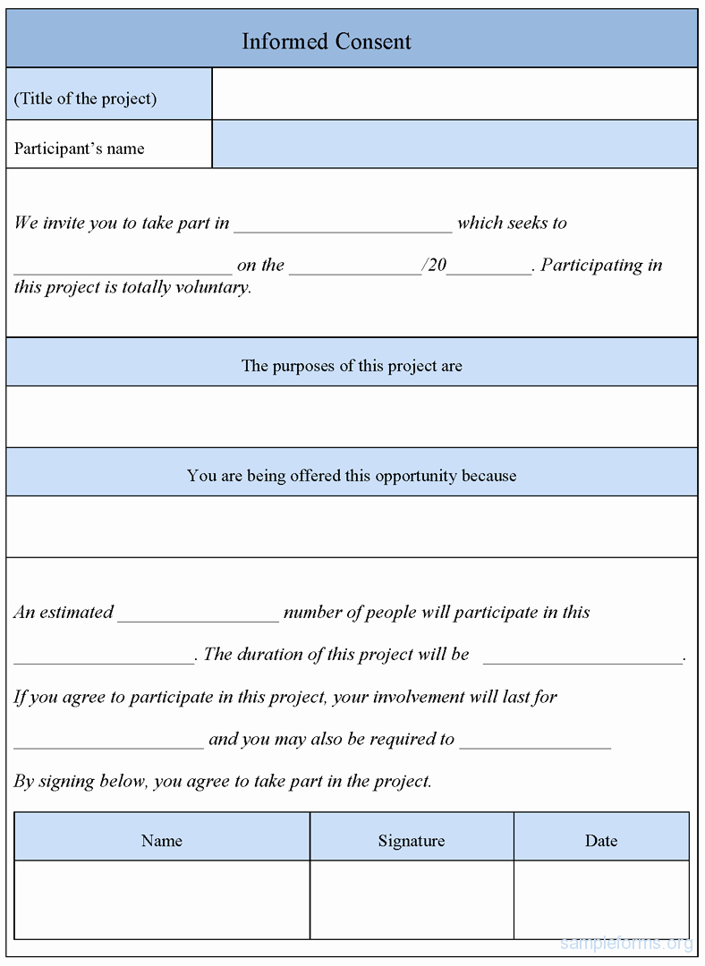 Photo Consent form Template Elegant Informed Consent form Template Sample forms