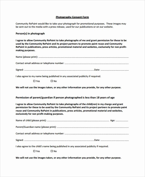 Photo Consent form Template Lovely 10 Graphy Consent forms