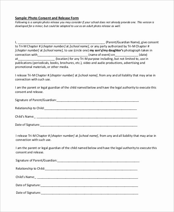 Photo Consent form Template Unique 9 Sample Release forms
