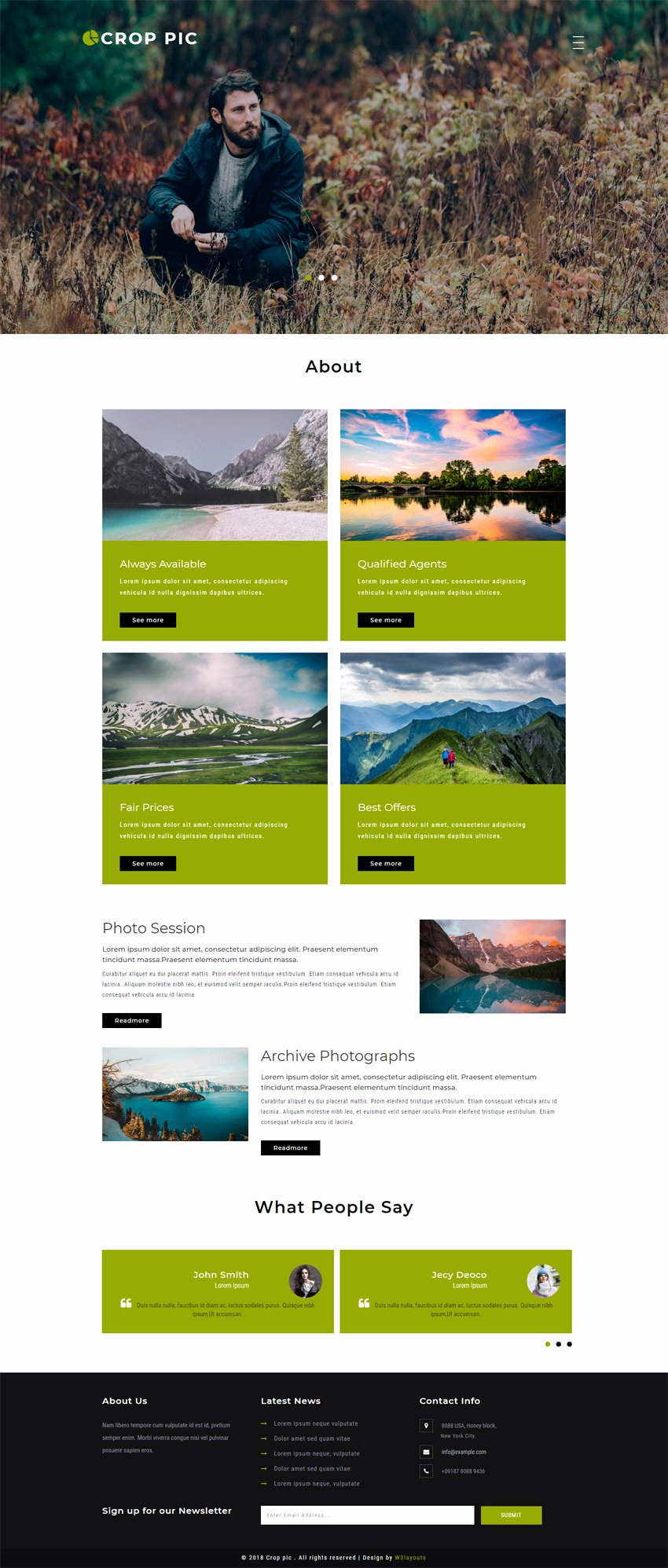 Photo Gallery Website Template Awesome Crop Pic Gallery Category Bootstrap Responsive Web