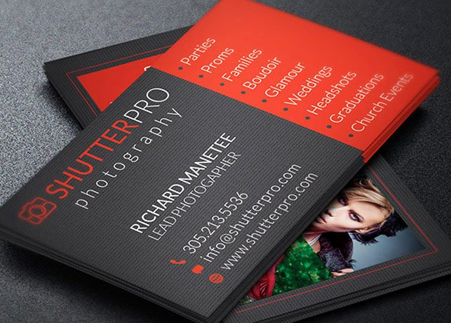 photography business card template