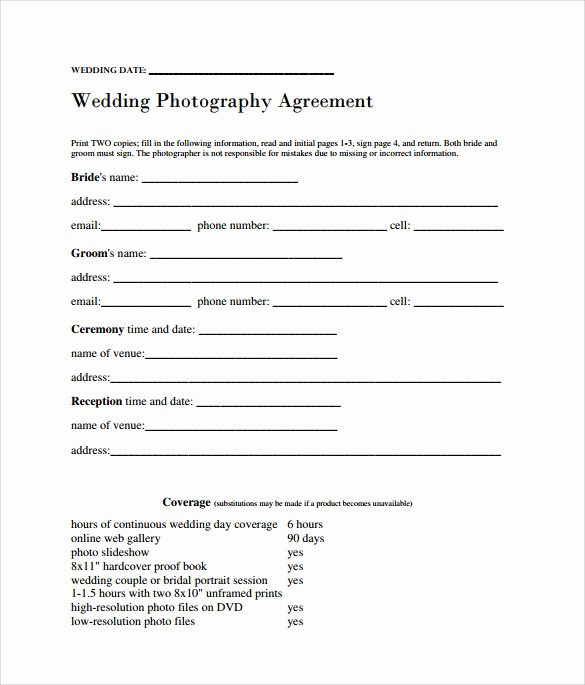 Photography Contract Template Pdf Awesome Sample Wedding Contract 14 Documents In Pdf Word