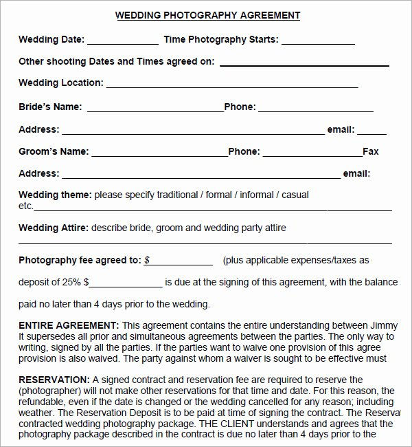 Photography Contract Template Pdf Beautiful Graphy Contract 7 Free Pdf Download