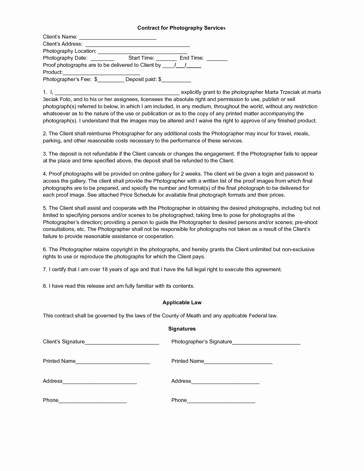 Photography Contract Template Pdf Best Of 4 Best Of Free Printable Contracts Templates Free