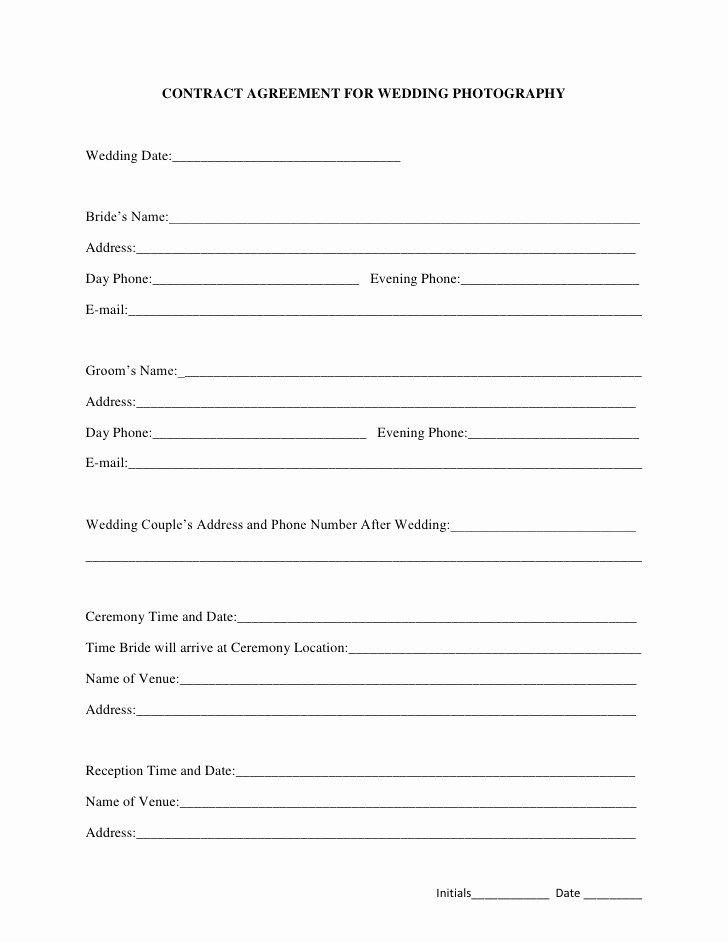 Photography Contract Template Pdf Best Of Contract Agreement for Wedding Photography