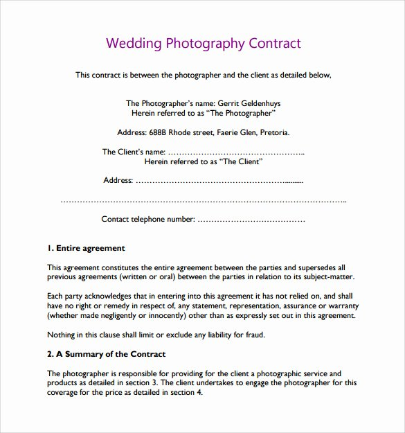 Photography Contract Template Pdf Elegant Wedding Graphy Contract Template 14 Download Free