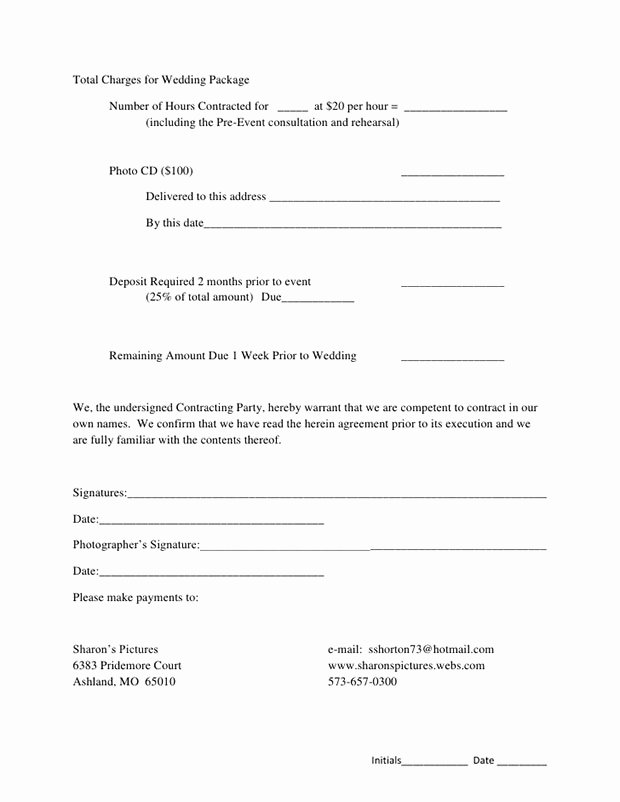 Photography Contract Template Pdf Fresh 5 Free Wedding Graphy Contract Templates