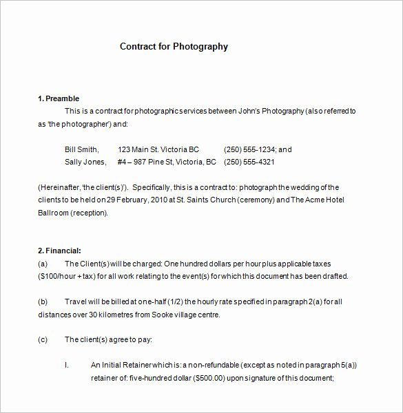 Photography Contract Template Pdf Fresh 7 Mercial Graphy Contract Templates Free Word