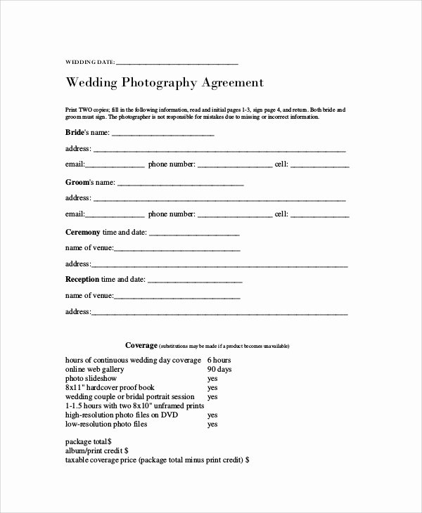 Photography Contract Template Pdf Lovely 7 Graphy Agreement Contract Samples