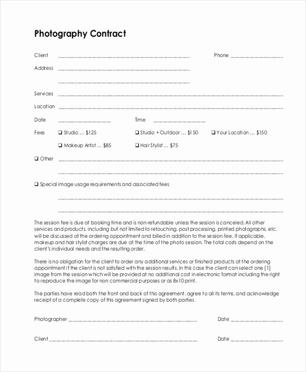 Photography Contract Template Pdf Luxury Sample Graphy Contract form 10 Free Documents In