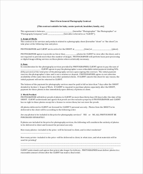 Photography Contract Template Pdf New 8 Graphy Contract Samples Examples Templates