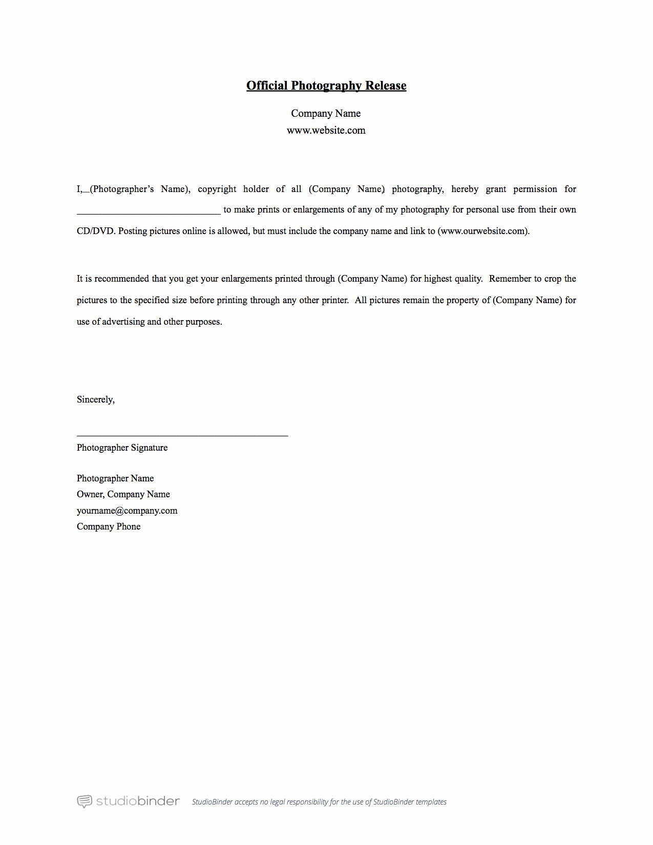 Photography Copyright Statement Template Elegant why You Should Have A Release form Template