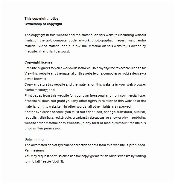 Photography Copyright Statement Template Luxury 26 Copyright Notices Doc Pdf