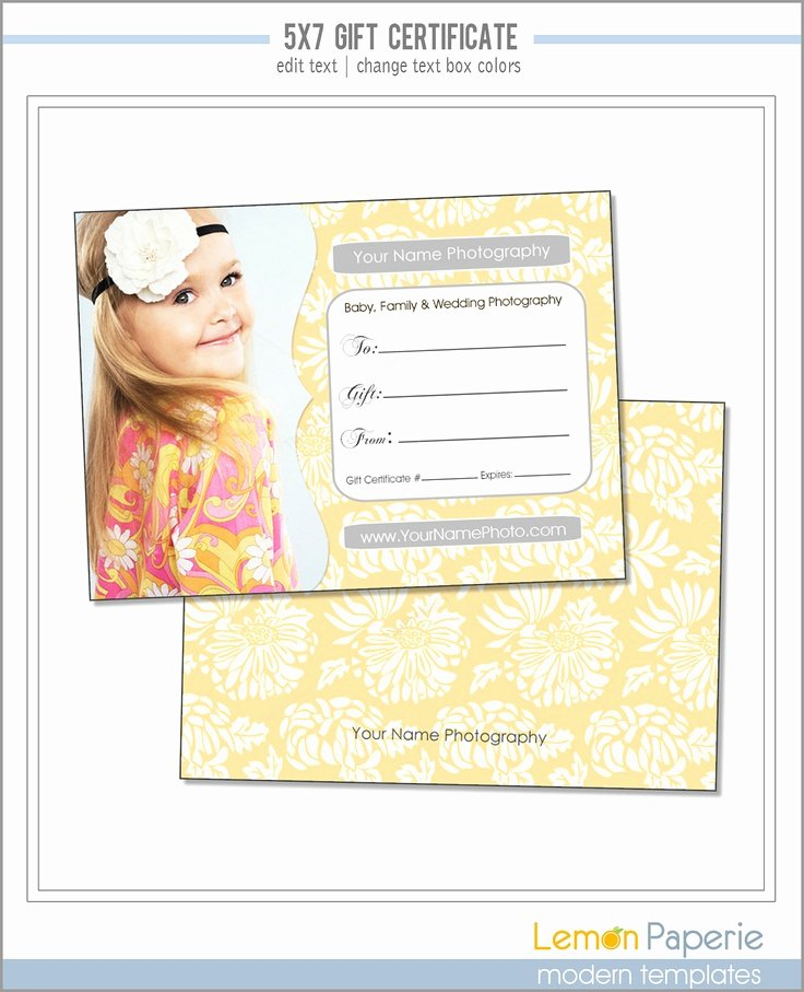 Photography Gift Certificate Template Beautiful 5x7 and 4x6 Gift Certificate Template Fresh Blossoms Psd
