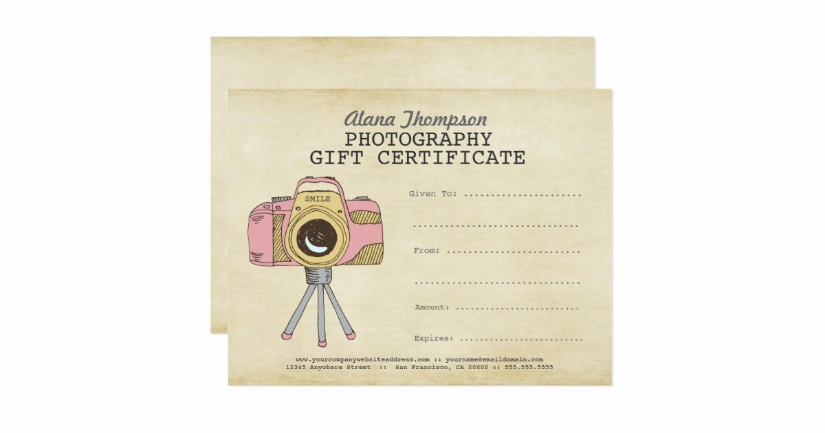 Photography Gift Certificate Template Luxury Grapher Graphy Gift Certificate Template Card